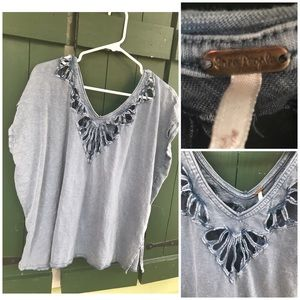 Gray Free People Top with Cut Outs